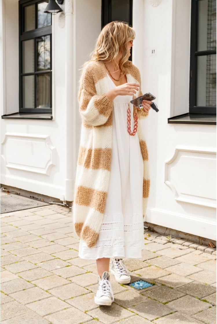 JIRA LONG STRIPED CAMEL-OFF WHITE
